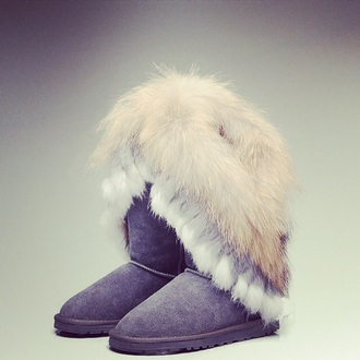 shoes gray boots boots fur boots winter boots snow boots