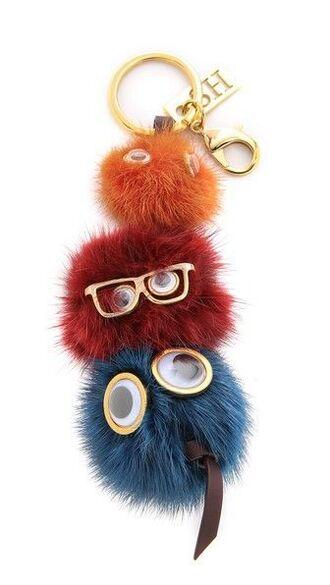 bag bag charm keychain cute fluffy puffy fur keychain pom pom keychain bag accessoires
