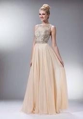 dress,tan,jewels,long dress,prom dress,cree lacey