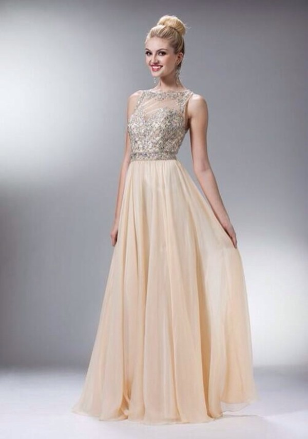 dress tan jewels long dress prom dress prom dress cree lacey