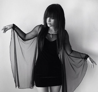 dress see through goth grunge bat-wings sheer black bat dress pastel goth black sheer dress gothic dress goth dress mesh mesh dress flowing dresses pretty beautiful black dress little black dress mini dress cute blouse