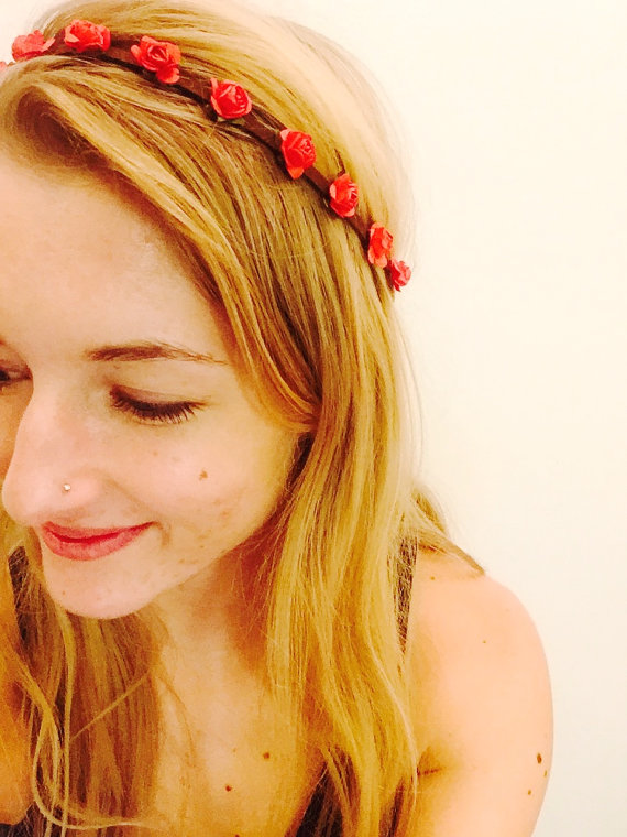 Mini red rose flower crown red flower headband small rose festival headpiece floral crown hippie style boho fashion edm edc spring accessory