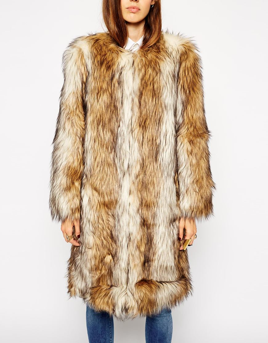 Asos vintage faux fur longline coat at asos.com