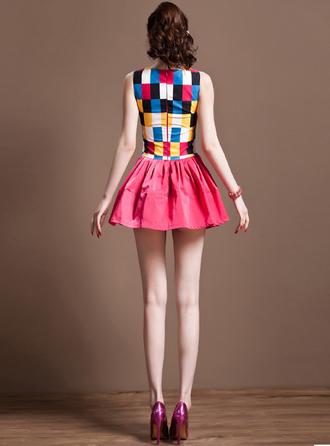dress bqueen fashion girl cute lovely bodycon sleeveless print chic hem summer dress