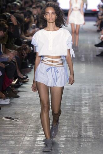 blouse top crop tops shorts sneakers ny fashion week 2016 runway model alexander wang