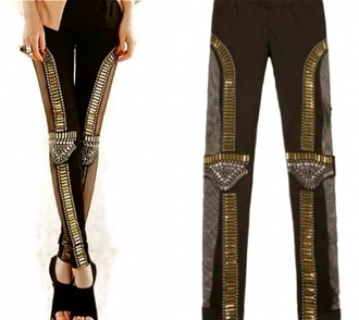 pants embellished leggings mesh bad girls club leggings studs