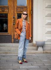 jeans,boyfriend jeans,boots,sock boots,blouse,animal print,blazer,cat eye,shoulder bag