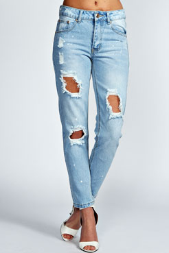Adriana Distressed Bleach Relaxed Skinny Jeans at boohoo.com