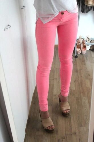 pink skinny jeans neon
