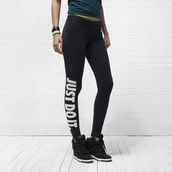 leggings,just do it,nike,black,black leggings,gym,hipster,sneakers,workout leggings,swag,tumblr,tumblr outfit,tumblr clothes,high waisted,printed leggings,nike air,edgy,athletic,tights,white,black and white