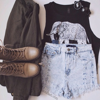 tank top boho top boho elephant black top boho chic elephant print