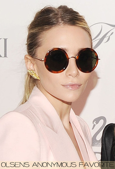 ashley olsen olsen round brown sunglasses olsens
