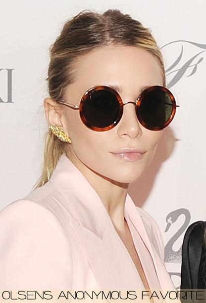 ashley olsen olsen round brown sunglasses olsen sisters sunglasses