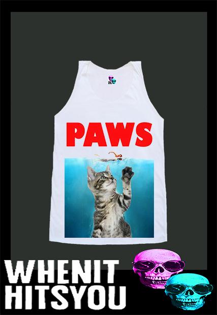 Jaws Shirt Paws Shirt Cat Kitty Tank Top Tshirt Singlet Vest R10354 Tank Top - Tanks Tops & Camis | RebelsMarket