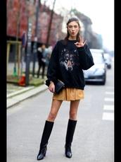 mustard,mustard skirt,black,sweater,black sweater,kenzo sweater,kenzo,boots,heels,high heels,knee high boots,leather skirt,leather boots,leather,model,elegant,black clutch bag,black boots,wolf,skirt