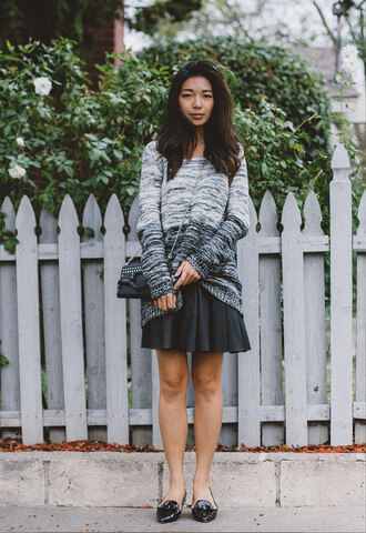 honey n silk blogger grey sweater black skirt loafers