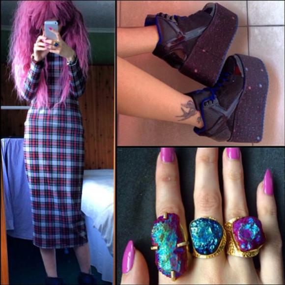 rainbow instagram jewels ring grunge titanium nail polish style