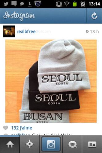 hat seoul black grey gray korean fashion korean style beanie