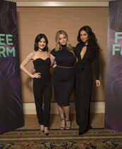 dress,pants,all black everything,pretty little liars,lucy hale,shay mitchell,sasha pieterse,wide-leg pants,blouse,top