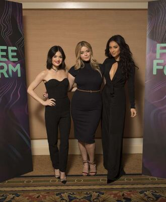 dress pants all black everything pretty little liars lucy hale shay mitchell sasha pieterse wide-leg pants blouse top
