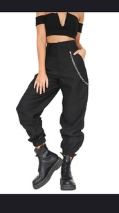 pants,black,long,track,chain