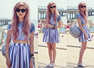 shirt acid wash blue shirt light blue baby blue high waisted skirt stripes crop tops backpack metallic sandals tie dye bracelets sunglasses hipster festival music festival soft grunge amy valentine skirt