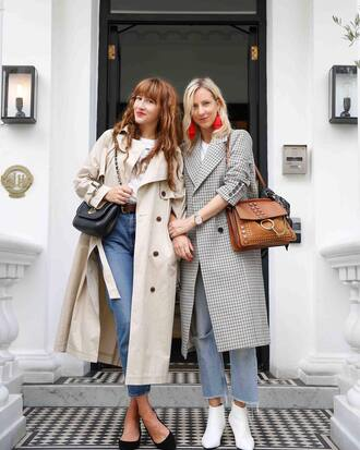 dress grey coat brown bag tumblr trench coat nude coat bag boots white boots ankle boots denim jeans blue jeans
