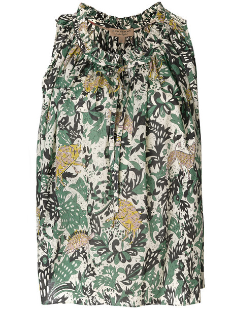 Burberry - floral print tank top - women - Cotton - 10, Green, Cotton