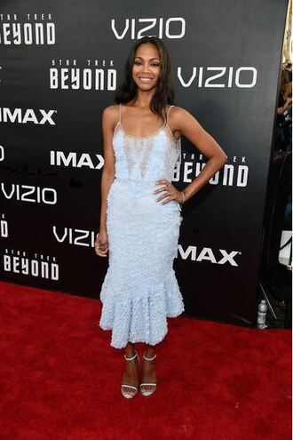 shoes zoe saldana dress bracelets gown blue mint dress