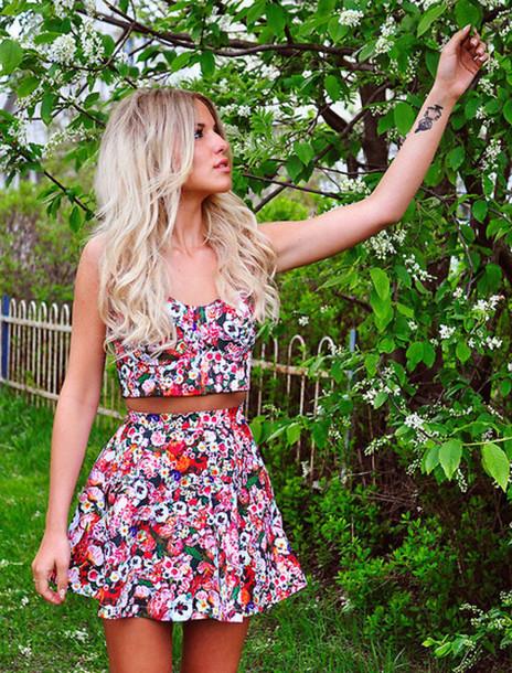 Toptwo-piece, flowers, cute, pretty, vintage, hippie, skirt