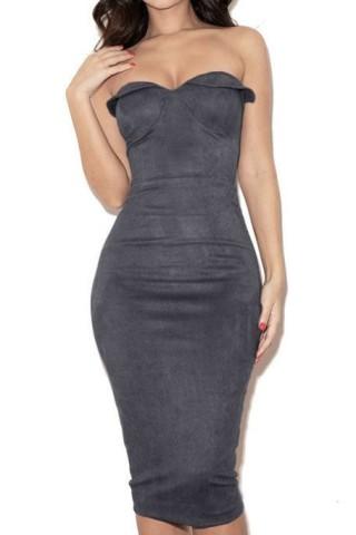 Gray Suede Strapless Dress Strapless