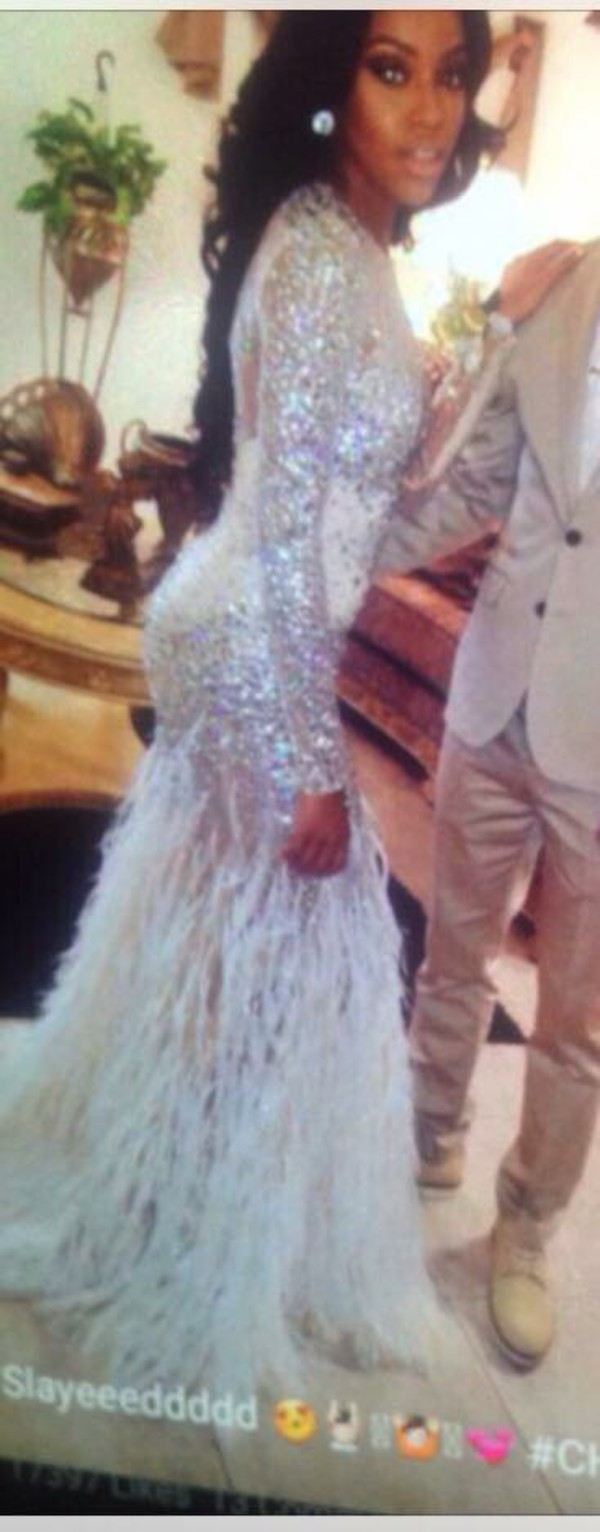 dress, diamond accent, mermaid style prom dress, feathers, prom ...