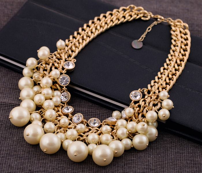 Fashion Luxury Pearl Necklace Crystal Gold Chain Statement Choker Collar Bib Wedding Bridal Multilayer Designer Women wholesale -inChain Necklaces from Jewelry on Aliexpress.com