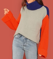 sweater,girly,girl,girly wishlist,knit,knitwear,knitted sweater,grey,blue,orange,colorblock,turtleneck,turtleneck sweater,comfy