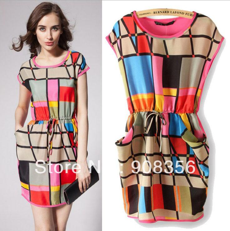 e034db9e9b Aliexpress.com   Buy New Fashion 2014 Summer Dress Women Sleeveles Ball Gown  Knee Length Colorful Plaid ...