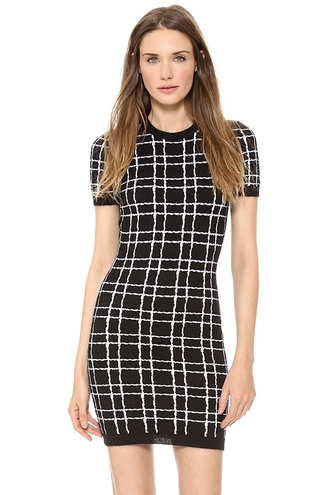 dress checkered black black and white bodycon dress zaful fashion vintage fall outfits casual dress streetwear