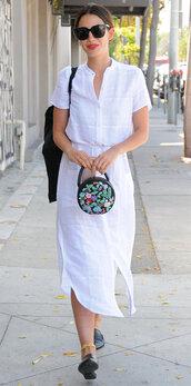 dress,white,white dress,lily aldridge,model,model off-duty,shirt dress,purse,shoes