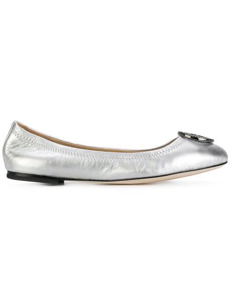 women leather grey metallic shoes