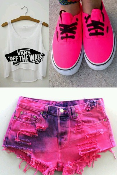 shoes pink shoes shorts tank top