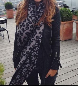 scarf leopard print pretty autumn accessories black grey