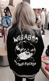 jacket,weeaboo,black,japan,tumbr,anime,weaboo,letterman jacket,white