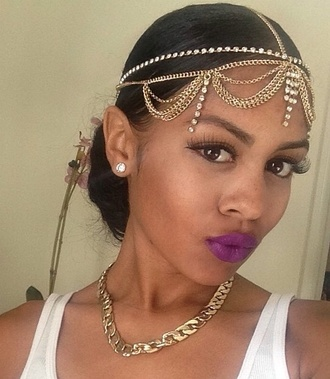 jewels headpiece head jewels black girls killin it mixed girl diamonds purple lipstick lipstick tank top jewelry headband hippie headband goddess look gold and silver