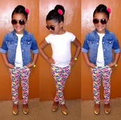 girl,toddler,kids fashion,girly,flowers,floral,flower print pants,denim jacket,sunglasses