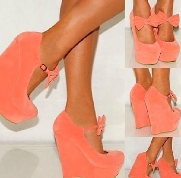 shoes coral wedges high heels bow