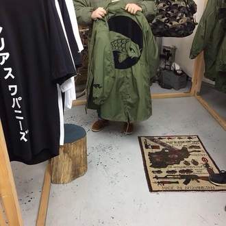jacket coat japanese koi fish paris green jacket
