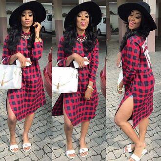 dress plaid flannel dress black girls killin it plaid dress hat curly hair white purse bag shoes girl