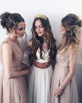 dress boho prom dress nude dress white dress maxi dress hair accessory gold gold crown crown bohemian lace white lace nude two-piece two piece dress set white white lace top brunette flowy tiara princess prom ball