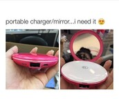 home accessory,compact mirror,mirror,charger,chanel,cute,everygirlneeds,phone charger,portable,pink,phone cover,portable charger