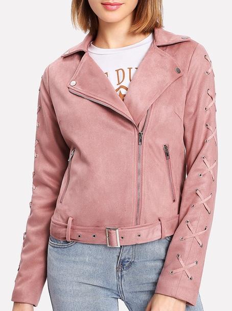 jacket girly pink suede suede jacket biker jacket