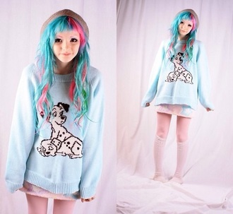 sweater pastel dalmations kawaii jumper